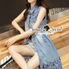 ชุดเดรสเกาหลี พร้อมส่งChill Girly Perforate Denim Dress