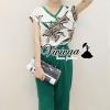 เสื้อผ้าเกาลี พร้อมส่งV blouse flora print greeny set