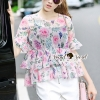 เสื้อผ้าเกาหลี พร้อมส่งCloral Pink Blossom Whity Pants Set