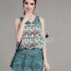 เสื้อผ้าเกาหลี พร้อมส่งa floral printing sleeveless top hollow stitching lace short skirt set