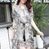 เสื้อผ้าเกาหลีพร้อมส่ง Foliage Gray Flora Batic Set