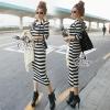 ชุดเดรสเกาหลี พร้อมส่งชุด Dress ยาวเนื้อผ้าลายริ้วสลับขาวดำ