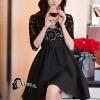 ชุดเดรสเกาหลี พร้อมส่งMini dress แขนยาวทรงคอวี