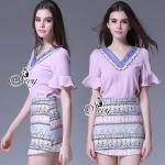 เสื้อผ้าเกาหลี พร้อมส่งV-Neck Glitter Purple Blouse With Vintage Bohemian Skirt Shorts Sets