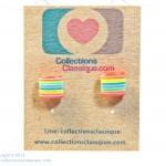ต่างหูพลาสติก,ต่างหูก้านพลาสติก,ต่างหูเด็ก E29023 The Rainbow Lines ต่างหู ราคาถูก