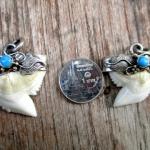 จี้ฟันฉลามเสือจับเงินแท้ ฝังเทอร์ควอยท์