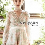Martha Pastel Flower Lace Playsuit with Pleated Tulle