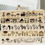 Wood Stamp แบบตัวยาว ชุดตัวการ์ตูนน่ารัก