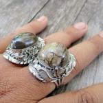 แหวนฟอสซิลงาช้างโบราณ(งาช้างดำ) ตัวเรือนเงินแท้ ฟรีไซส์(ปรับขนาดเองได้เลย)
