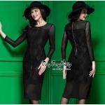 ชุดเดรสเกาหลี พร้อมส่งเดรสสีดำทรงสวยงานหรูมากค่