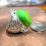 แหวนเทอร์ควอยซ์เขียวมะนาว Green Turquoiseหายาก ตัวเรือนเงินแท้ สไตร์อเมริกันอินเดียน