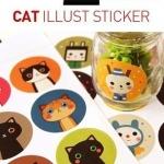 Cat illust Sticker สติ๊กเกอร์กลมหน้าแมว