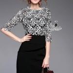 noble B&W blossom lace half sleeve feminine dress