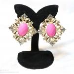 E149006 Shocking Pink Earring ต่างหูทองสีชมพู