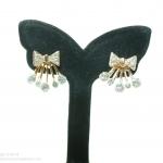 E99014 Diamonds Ribbon ต่างหูทองรูปโบ