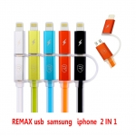 REMAX สาย ชาร์จ usb samsung iphone6 2in1 มีไฟ