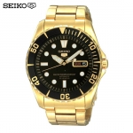 SEIKO SNZF22J1Seiko MINI Monster Automatic นาฬิกาข้อมือผู้ชาย สีดำทอง สายสแตนเลส