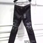 กางเกงSaint Laurent Zipper Leather Biker Jeansสำหรับผู้ชาย