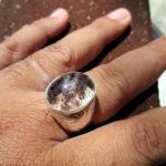 แหวนมอญแก้วโป่งข่าม แก้วปวกสามสี ใสสวย เนื้อเงินแท้แกะลายใบ และดอกไม้