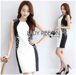 Smart Casual Laser-Cut Black and White Dress