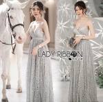 Ellery Elegant Princess Glittery Sequin Embroidered Grey Tulle Maxi Dress
