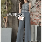 Donna Smart Casual Dark Grey Lace and Crepe Jumpsuit with Belt