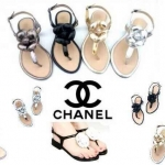 CHANEL Camelia sandals รองเท้าแตะรัดส้น chanel style หนังเมทัลลิค