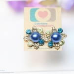 E119010 Elegant Blue Pearly ต่างหูมุก