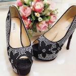 รองเท้าส้นสูง ประดับมุกรอบ ลายดอกไม้ สวย เริ่ด ไฮโซ
