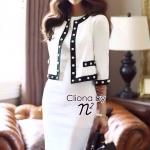 เสื้อผ้าเกาหลี พร้อมส่ง เซ็ตเสื้อคลุมโทนสีขาวตัวสั้นตัดแต่งขอบสีดำ