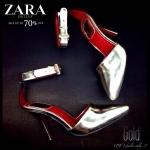 ZARA NEW 2514 รองเท้าหัวเเหลม zara หนังเมทัลลิค สูง 3.5 นิ้ว สายรัดข้อปรับระดับได้