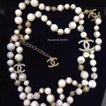 พร้อมส่ง Chanel Necklace เกรดซุปเปร์ไฮเอนคะงานหิน Howlite