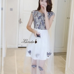 Blossom embroidery hollow lace dress