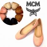 รองเท้าส้นเบบคัชชู MCM หนัง pu ปั้มลายลึก งานสวย ตีโลโก้ MCM ที่พื้น