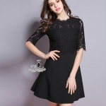 noble two-piece floral lace round neck female dress