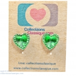 ต่างหูพลาสติก,ต่างหูก้านพลาสติก,ต่างหูเด็ก E29012 The Emerald Heart Earring ต่างหู ราคาถูก