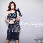 Smart Navy Lady Summer Beauty Dress
