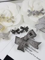 พร้อมส่ง Ribbon Brooch &Earring เข็มกลัด/ต่างหู ชาแนล โบว์ มี logo งานขายดีมาก ฝังCZแท้