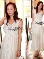 Lady Ribbon White Floral Embellish Lace Maxi