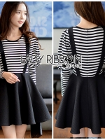 Abby Sweet Minimal Striped Overall Dress