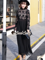 Lacely Pleaty Skirt Lace Maxi Dress