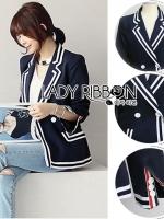 Aria Minimal Chic navy & White Blazer