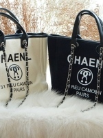 Chanel canvas tote shopping bag