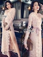 Elegance Sexy Leg Long Sleeve Valentino Lace Maxi Dress