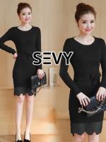 Round Neck Long Sleeve Lace EdgeKnit Dress