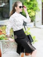 เสื้อผ้าเกาหลี พร้อมส่งBoutique lace shirt and classic shirt set
