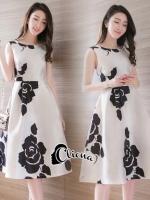 ชุดเดรสเกาหลี พร้อมส่งCh@nel Floral Line Dress