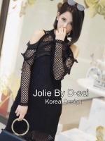 ชุดเดรสเกาหลี พร้อมส่งชุดเดรสคอกลมแขนยาว โทนสีดำ