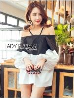 เสื้อผ้าเกาหลี พร้อมส่งเสื้อสายเดี่ยวเปิดไหล่ผ้าคอตตอนสีขาว-ดำสไตล์มินิมัล