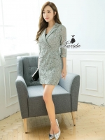 luxury gray lace suit collar thin sleeve dress